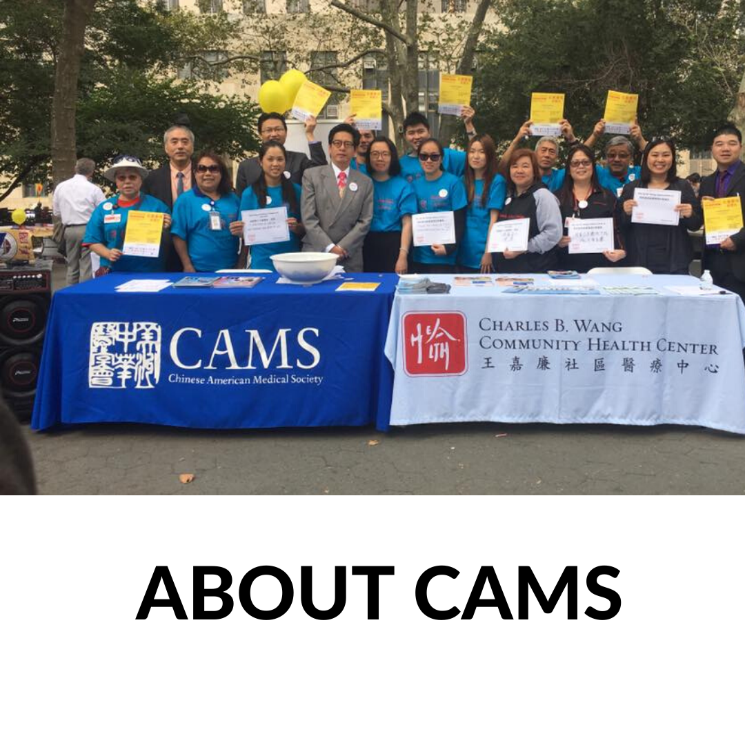 CAMS members and supporters at North American Chinatown Smoke Free Day Event at Columbus Park NYC with the words About CAMS underneath