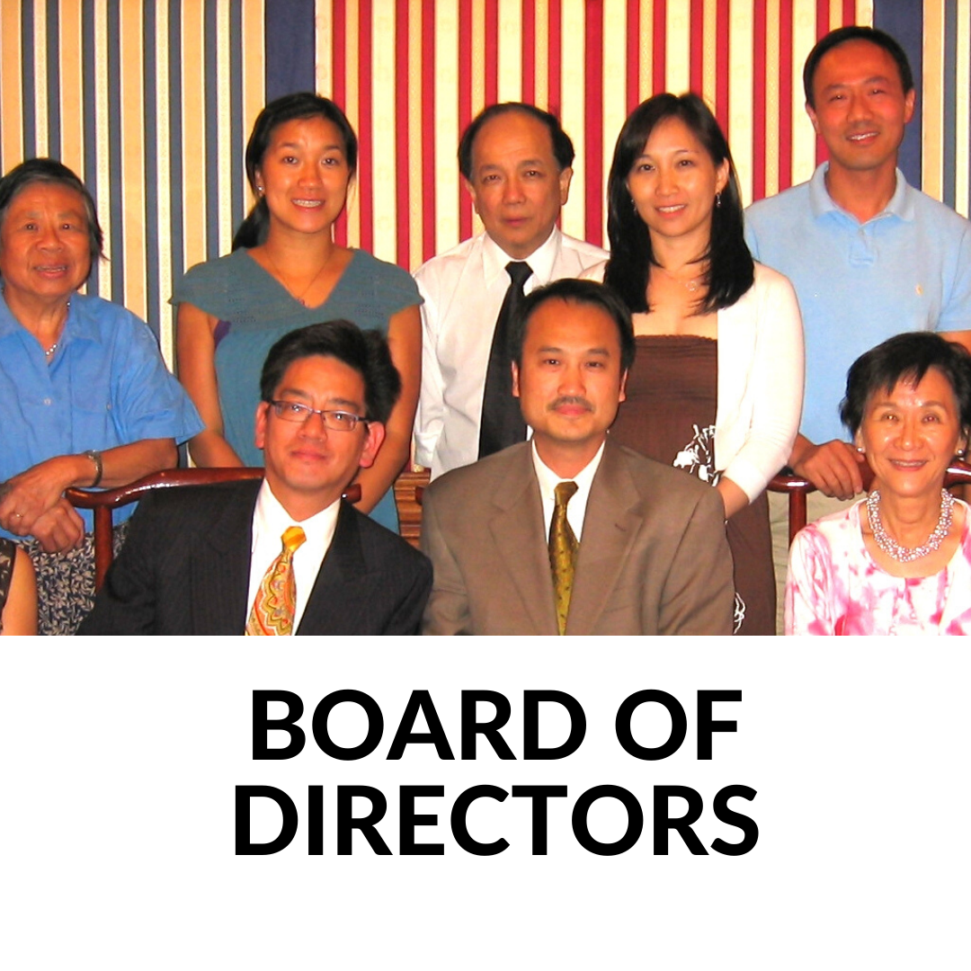 3 people sitting together with 5 people standing behind them, stripes on wall words Board of Directors underneath photo