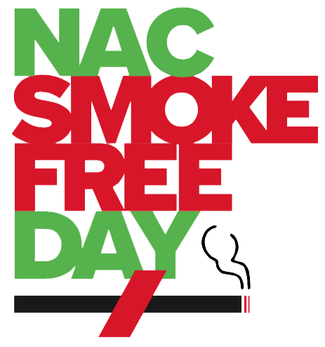 NAC Smoke Free Day Black Cigarette with red slash through the cigarette